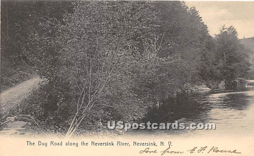 Dug Road along the Neversink River - New York NY Postcard