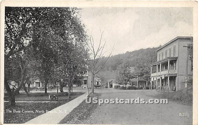 Busy Corners - North Branch, New York NY Postcard