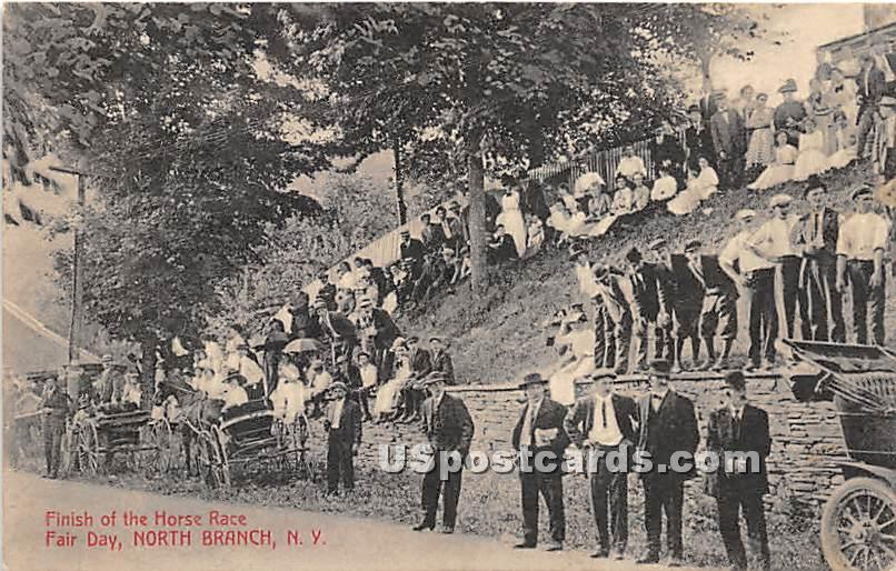 Finish of the Horse Race - North Branch, New York NY Postcard