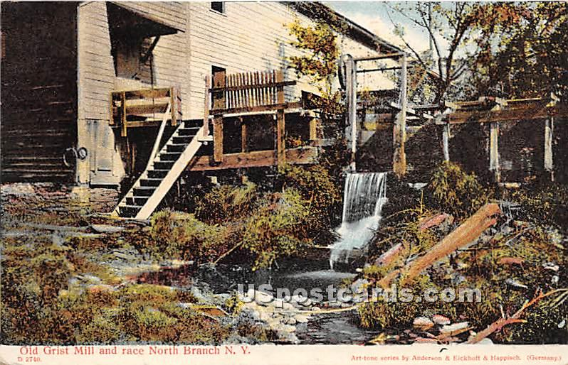 Old Grist Mill and Race - North Branch, New York NY Postcard