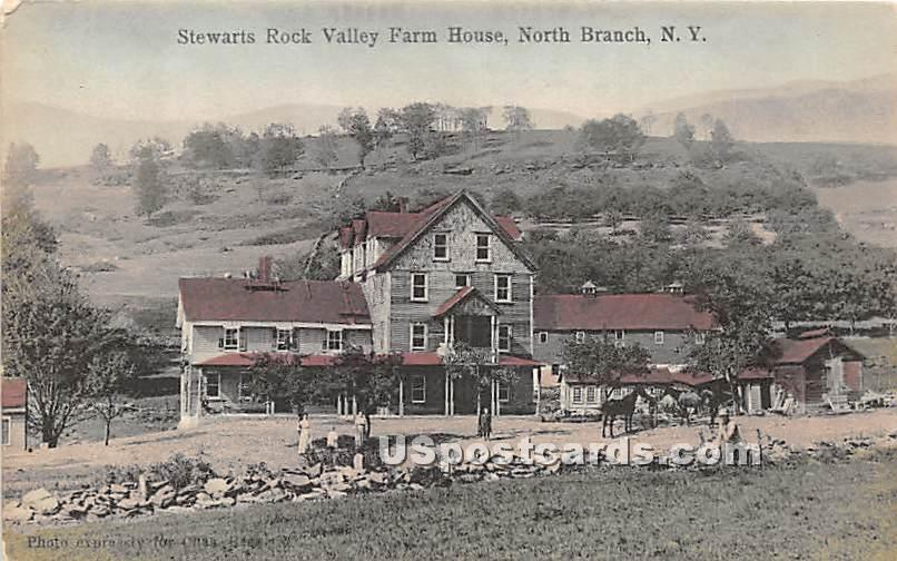 Stewarts Rock Valley Farm House - North Branch, New York NY Postcard