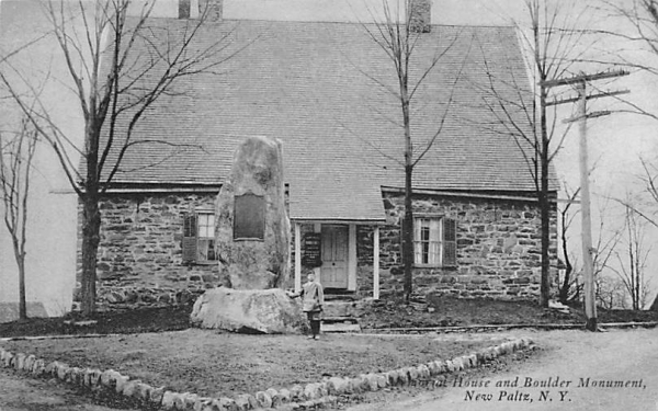 Memorial House and Boulder Monument New Paltz, New York Postcard