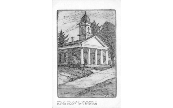 Oldest Church Ulster County New Paltz, New York Postcard