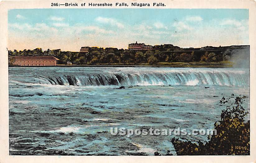 Brink of Horseshoe Falls - Niagara Falls, New York NY Postcard