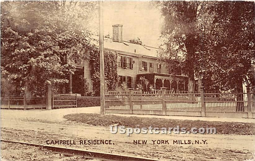 Campbell Residence - New York Mills Postcards, New York NY Postcard