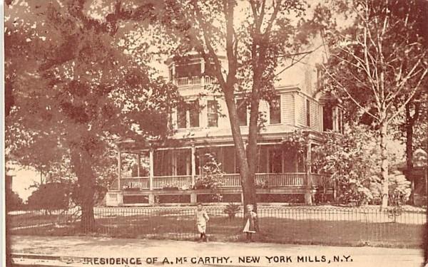 Residence of A McCarthy New York Mills, New York Postcard