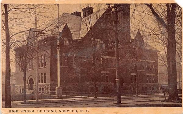 High School Building Norwich, New York Postcard