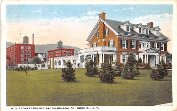RD Eaton Residence & Pharmacal Co Norwich, New York Postcard