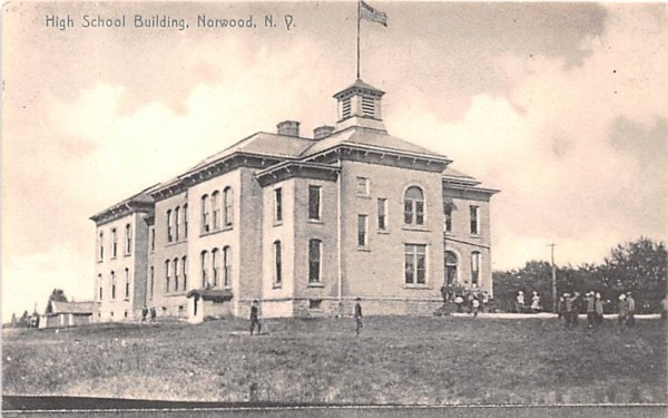 High School Building Norwood, New York Postcard