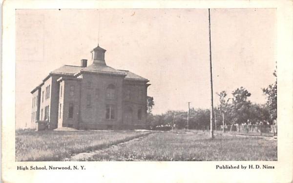 High School Norwood, New York Postcard