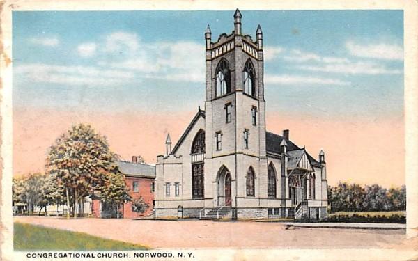 Congregational Church Norwood, New York Postcard