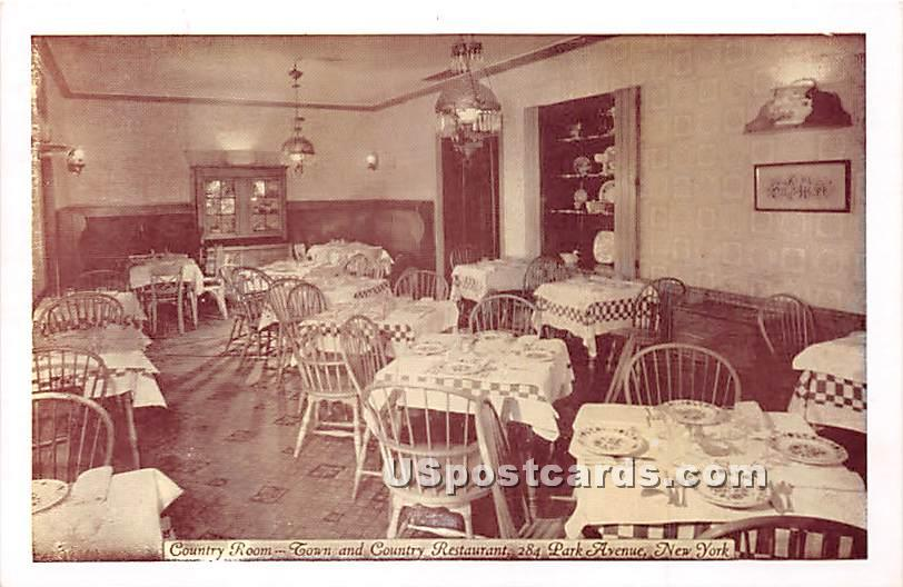 Country Room, Town & Country Restaurant - New York City Postcards, New York NY Postcard