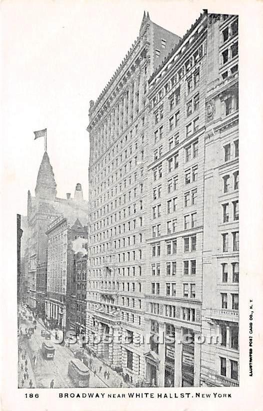 Broadway, White Hall Street - New York City Postcards, New York NY Postcard