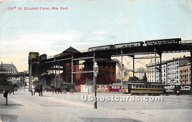 110th Street Elevated Curve - New York City Postcards, New York NY Postcard
