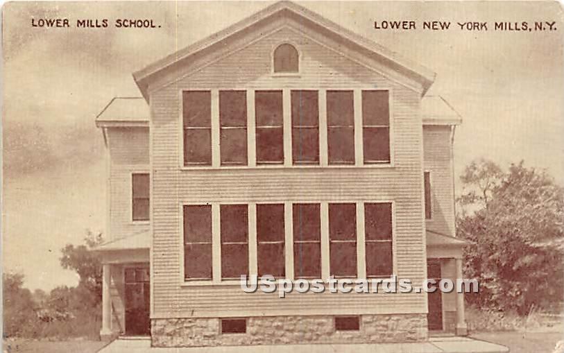 Lower Mills School - New York Mills Postcards, New York NY Postcard
