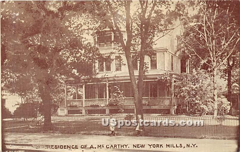 Residence of A McCarthy - New York Mills Postcards, New York NY Postcard