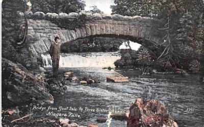 Bridge from Goat Isle to Three Sister Islands Niagara Falls, New York Postcard