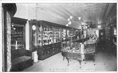 AD Sturges Jeweler Norwich, New York Postcard