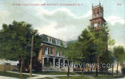 Notre Dame Church & Rectory - Ogdensburg, New York NY Postcard