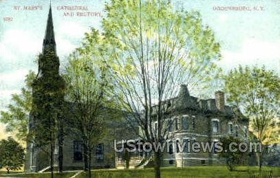 St. Mary's Cathedral & Rectory - Ogdensburg, New York NY Postcard