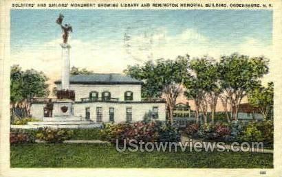 Remington Memorial Bldg - Ogdensburg, New York NY Postcard