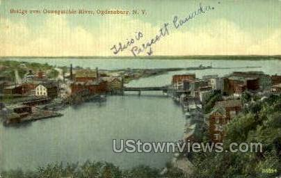 Bridge over Oswegatchie River - Ogdensburg, New York NY Postcard