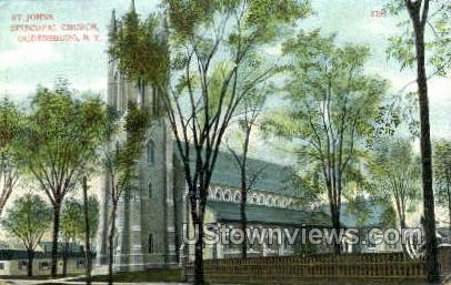St. John's Episcopal Church - Ogdensburg, New York NY Postcard