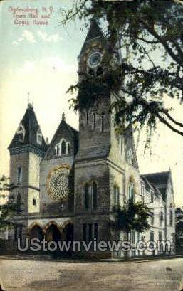 Town Hall & Opera House - Ogdensburg, New York NY Postcard