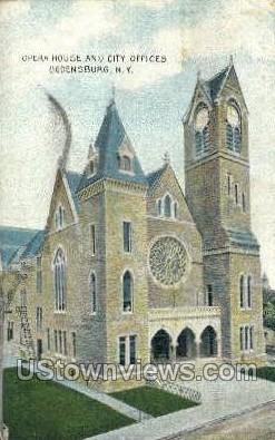 Opera House & Town Hall - Ogdensburg, New York NY Postcard