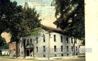 Free Academy and High School - Ogdensburg, New York NY Postcard