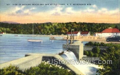Bathing Beach & Dam - Old Forge, New York NY Postcard