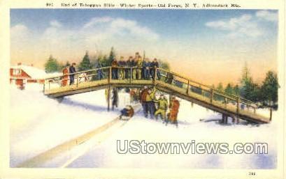 Toboggan Slide - Old Forge, New York NY Postcard