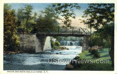 Bridge & State Dam - Old Forge, New York NY Postcard