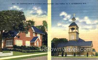 St. Barthelomew's Church & Rectory - Old Forge, New York NY Postcard