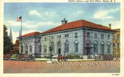 Public Library & Post Office - Olean, New York NY Postcard