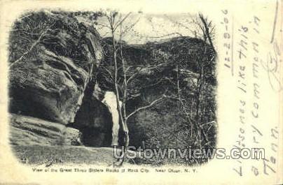 Three Sister Rocks - Olean, New York NY Postcard