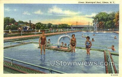 Olean Municipal Pool - New York NY Postcard
