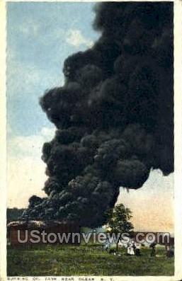 Burning Oil Tank - Olean, New York NY Postcard