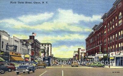 North Union Street - Olean, New York NY Postcard
