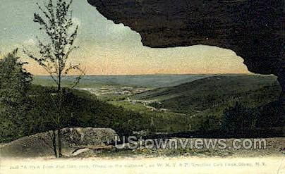 Flat Iron Rock - Olean, New York NY Postcard