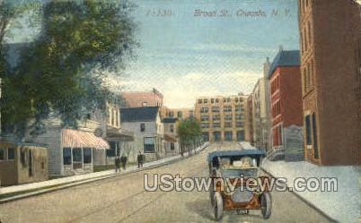 Broad Street - Oneonta, New York NY Postcard