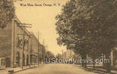 West Main Street - Owego, New York NY Postcard