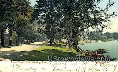 Front Street, Susquehanna River - Owego, New York NY Postcard