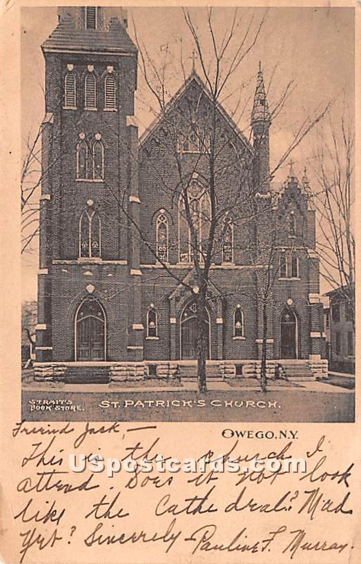 St. Patrick's Church - Owego, New York NY Postcard
