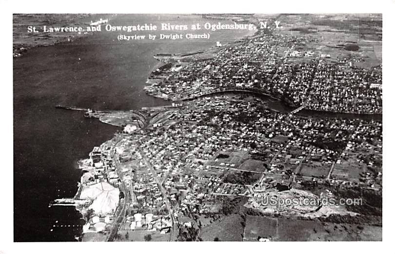 St Lawrence and Oswegatchie Rivers - Ogdensburg, New York NY Postcard