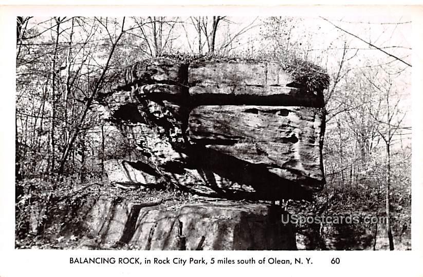 Balancing Rock - Olean, New York NY Postcard