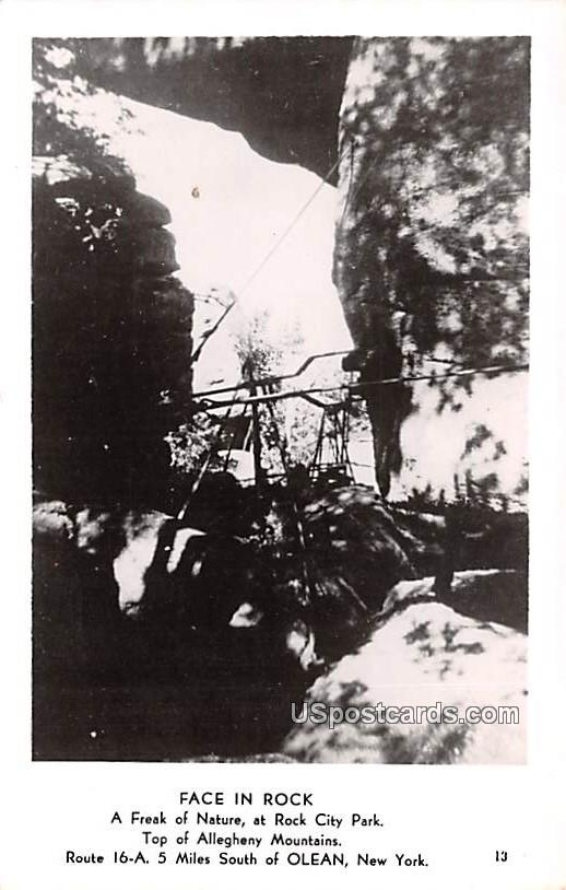 Face in Rock - Olean, New York NY Postcard