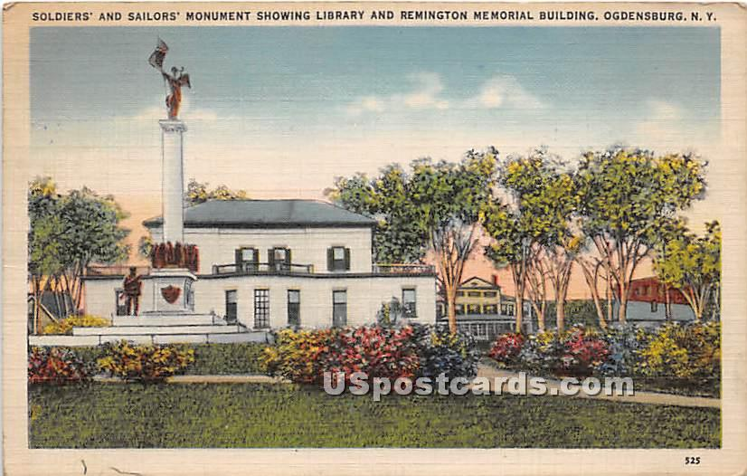 Soldiers' & Sailors' Monument - Ogdensburg, New York NY Postcard