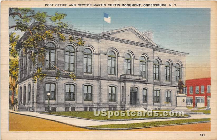 Post Office & Newton Martin Curtis Monument - Ogdensburg, New York NY Postcard