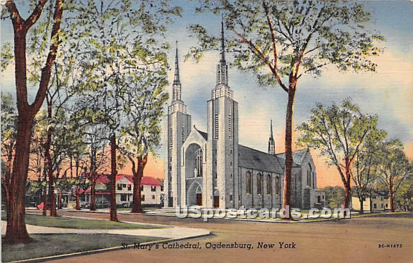 St Mary's Cathedral - Ogdensburg, New York NY Postcard